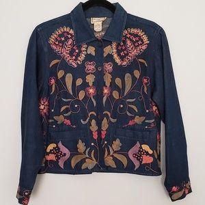 Vintage April Cornell Embroidered Denim Shirt Sz S